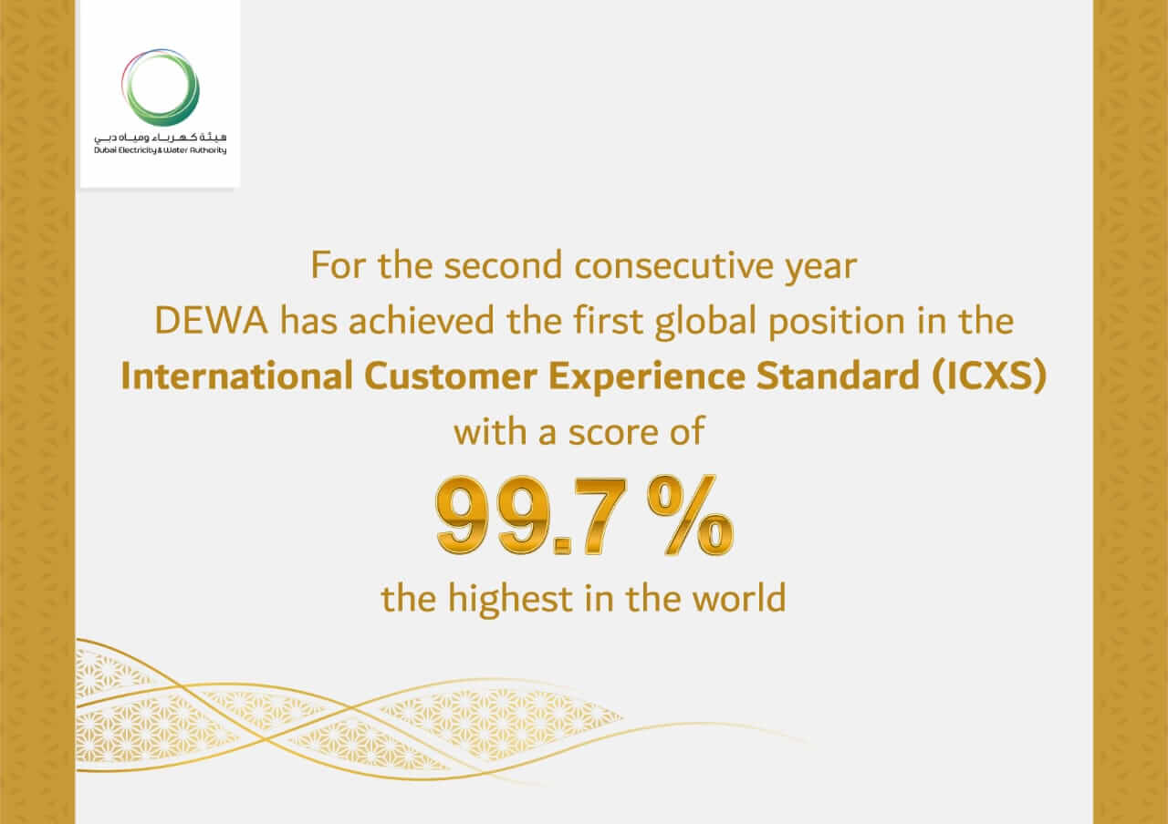 DEWA receives a score of 99.7% in the International Customer Experience Standard