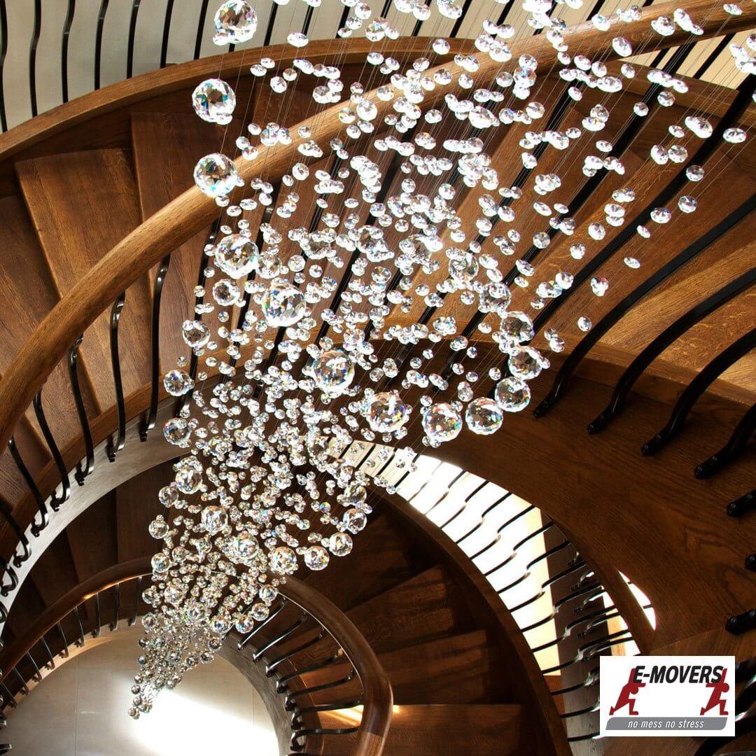Indoor chandelier lights installation