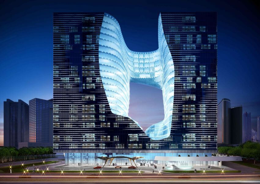Zaha Hadid's wild hotel with an 8-story hole in the middle